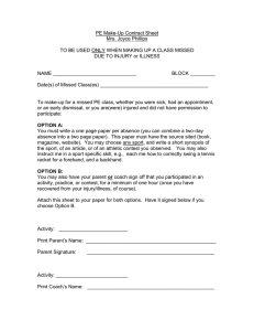 PE Make-Up Contract Sheet Mrs. Joyce Phillips