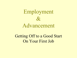 Employment & Advancement Getting Off to a Good Start