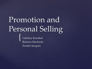 { Promotion and Personal Selling Lakshya Kaushal