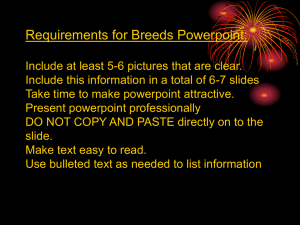 Requirements for Breeds Powerpoint: