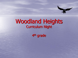 Woodland Heights Curriculum Night 4 grade