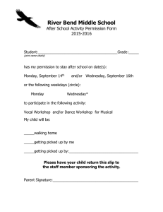 River Bend Middle School After School Activity Permission Form 2015-2016