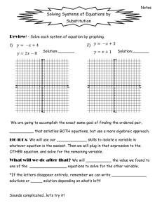 Solving Systems of Equations by Substitution Review