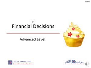Financial Decisions Advanced Level 1.02 2.1.3.G1