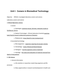 Unit I:  Careers in Biomedical Technology