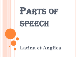 P ARTS OF SPEECH Latina et Anglica
