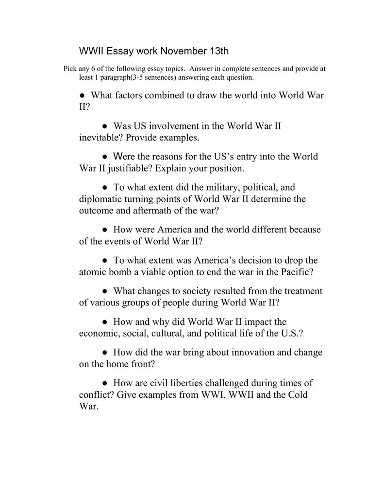introduction to ww2 essay This introduction to world war ii is a series of relatively short articles aimed at  introducing ww2 to those who might not be familiar with it it is broken down into .