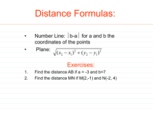 Distance Formulas: Exercises: b-a for a and b the •
