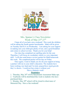 Mrs. Spataro's Class Newsletter Week of May 23 -27