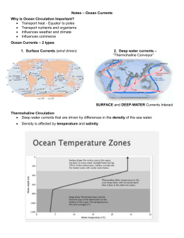 Notes – Ocean Currents Why is Ocean Circulation Important?