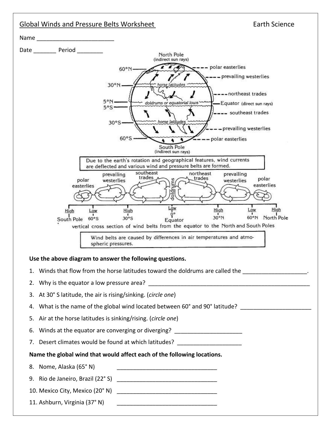 Worksheets Global Winds Worksheet global winds and pressure belts worksheet earth science