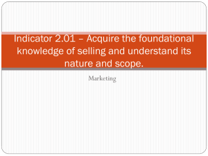 Indicator 2.01 – Acquire the foundational nature and scope. Marketing