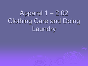 – 2.02 Apparel 1 Clothing Care and Doing Laundry