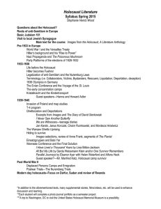 Holocaust Literature Syllabus Spring 2015