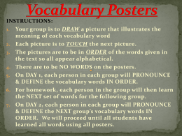 INSTRUCTIONS: DRAW meaning of each vocabulary word TOUCH