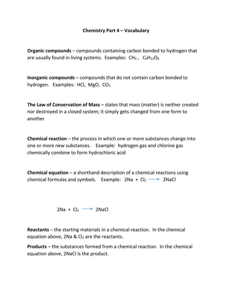 Chemistry Part 4 Vocabulary Organic Compounds Inorganic Compounds