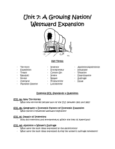 Unit 7: A Growing Nation/ Westward Expansion  Key Terms: