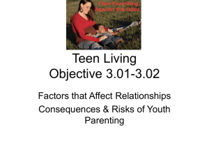 Teen Living Objective 3.01-3.02 Factors that Affect Relationships Consequences & Risks of Youth