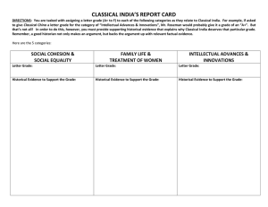 CLASSICAL INDIA'S REPORT CARD