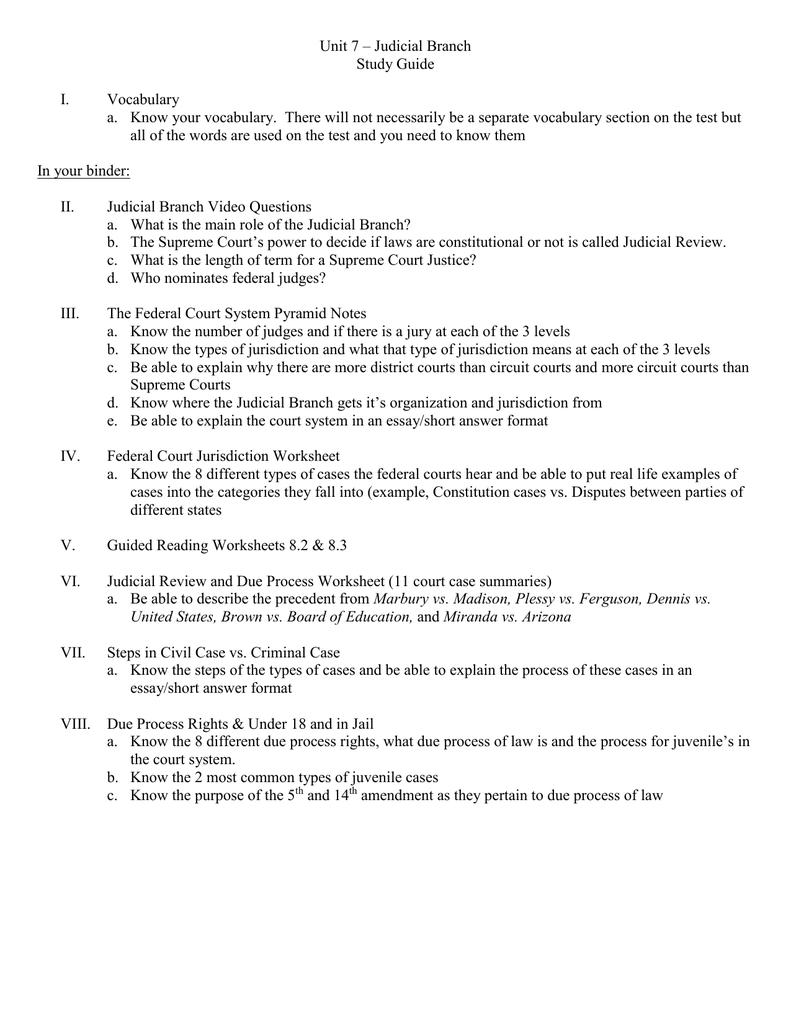 Unit 7 – Judicial Branch Study Guide I