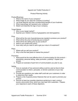 Apparel and Textile Production II Product Planning Activity Product/Business