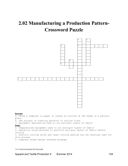 2.02 Manufacturing a Production Pattern- Crossword Puzzle