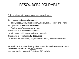 RESOURCES FOLDABLE • Fold a piece of paper into four quadrants: