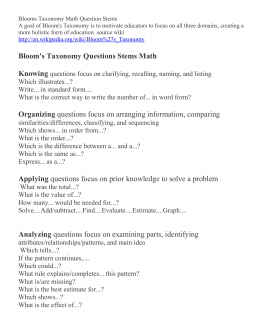 Blooms Taxonomy Math Question Stems