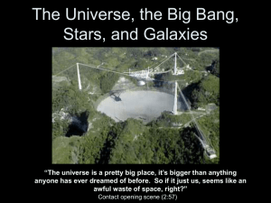 The Universe, the Big Bang, Stars, and Galaxies