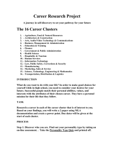 Career Research Project The 16 Career Clusters