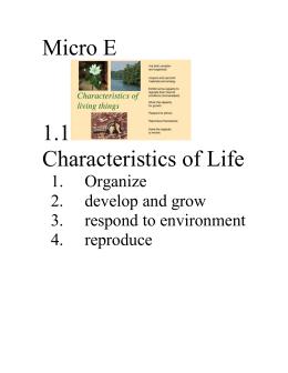 Micro E 1.1  Characteristics of Life