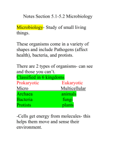 Notes Section 5.1-5.2 Microbiology  Microbiology- Study of small living things.