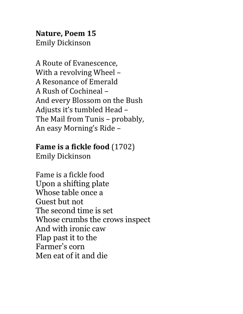 Nature Poem 15 Emily Dickinson A Route Of Evanescence