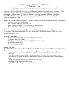 IBMYP Language and Literature Level 4 Syllabus Mrs. King – A110