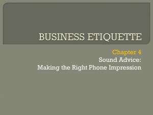 Business Etiquette - Sound Advice