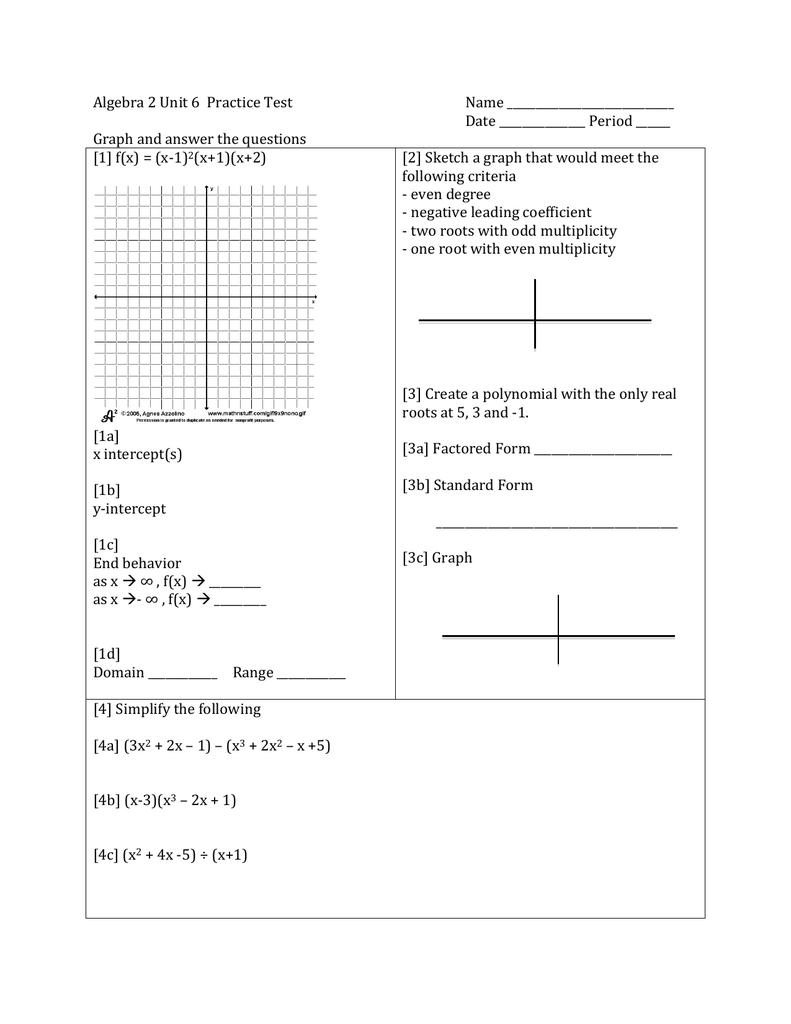 Algebra 2 Unit 6 Practice Test Name