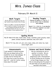 Mrs. Jones Class February 29- March 11  Reading Targets