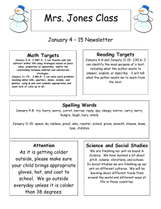 Mrs. Jones Class January 4 – 15 Newsletter  Reading Targets