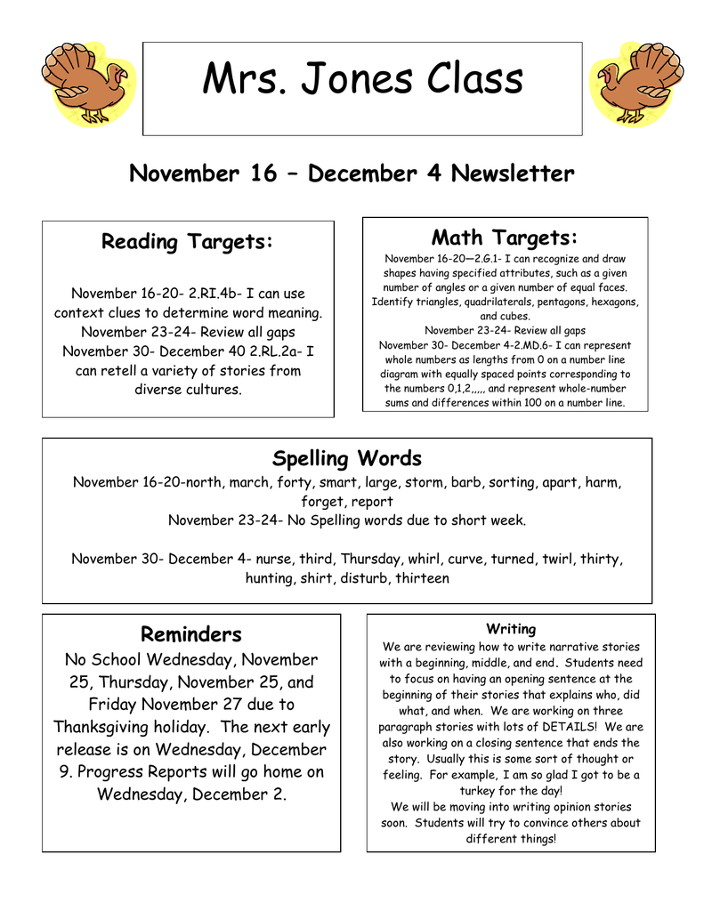 Mrs  Jones Class November 16 – December 4 Newsletter Math
