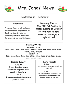 Mrs. Jones' News September 21-  October 2