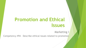 Promotion and Ethical Issues Marketing I