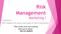 Risk Management Marketing I ""