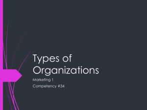 Types of Organizations Marketing 1 Competency #34