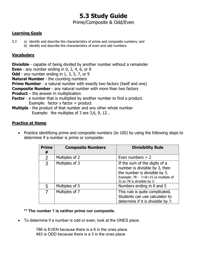 5.3 Study Guide Prime/Composite & Odd/Even Learning Goals