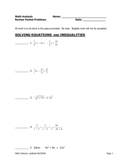 SOLVING EQUATIONS INEQUALITIES