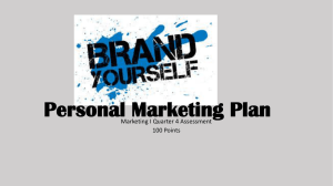 Personal Marketing Plan Marketing I Quarter 4 Assessment 100 Points