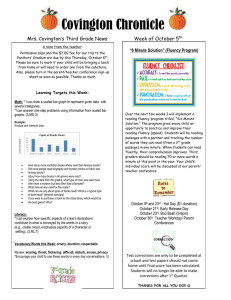 Covington Chronicle Mrs. Covington's Third Grade News Week of October 5