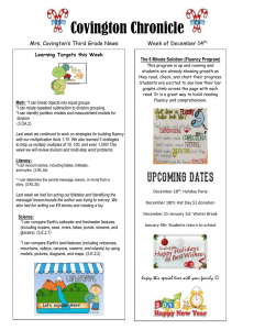 Covington Chronicle Mrs. Covington's Third Grade News Week of December 14