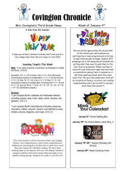 Covington Chronicle Mrs. Covington's Third Grade News Week of January 4