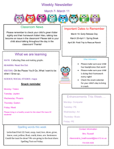 Weekly Newsletter March 7- March 11 Important Dates to Remember Classroom News